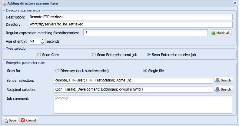 Seon Enterprise - Fetch files from (S)FTP server - Seon